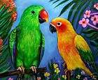 male eclectus sun conure giclee of painting bird flowers parrot