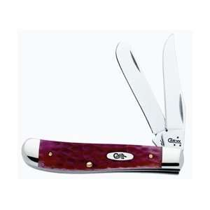 Case Mini Trapper Red CV Bone Pocket Knife Clip&Spey Blades Chrome