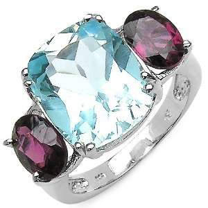 Genuine Blue Topaz & Rhodolite Garnet Sterling Silver Ring Jewelry