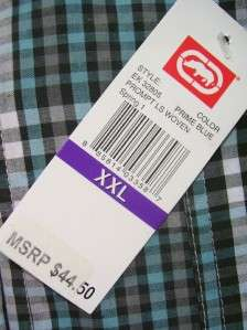 UNLTD. PROMPT PLAID WOVEN BUTTON FRONT SHIRT MENS XXL RETAIL $44.50