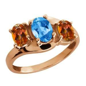 Swiss Blue Topaz and Ecstasy Mystic Topaz 18k Rose Gold Ring Jewelry