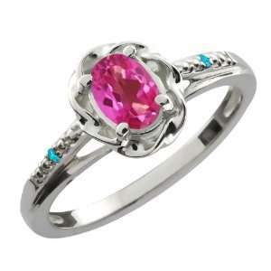 Oval Pink Mystic Topaz Swiss Blue Topaz 10K White Gold Ring Jewelry