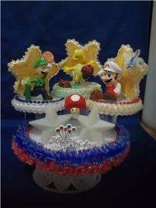 SUPER MARIO BROTHERS BIRTHDAY CAKE TOP/TOPPER/MIRRORED