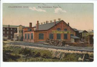 Columbiana Pump Company Factory OH Ohio Postcard County Old Vintage