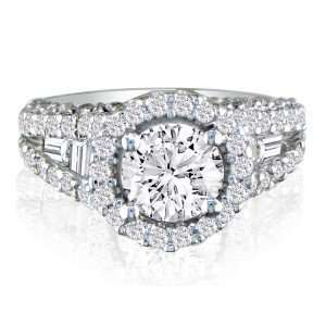Rings 2 2/3ct Diamond Ring with Round Brilliant Center and Baguette