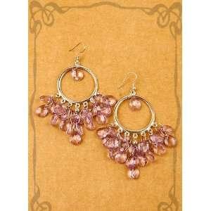 New Fashion Pink Bead Hoop Earring