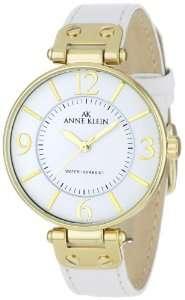 Anne Klein Womens 109168WTWT Gold Tone Round White