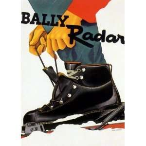 Bally Radar Ski Boots Vintage Skiing Poster