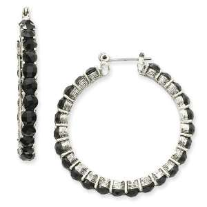 1928 Boutique Silver tone Faceted Jet Bead Hoop Earrings