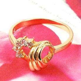 Elegant 18K Yellow Gold Filled Womens Zircon Rings R047 9#