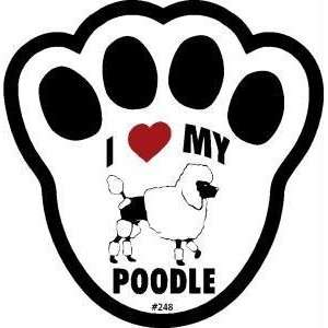 I Love My Poodle Dog Pawprint Window Decal w/Suction Cup