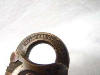 YALE & TOWNE SMALL ANTIQUE BRASS PAD LOCK W/KEY PADLOCK TOWN