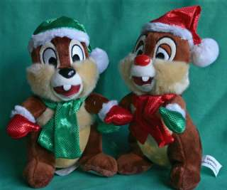 2009 CHIP & DALE SANTA PLUSH COLLECTIBLE TOYS NEW HOLIDAY CHIP & DALE