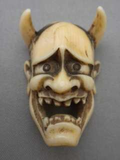 EDO Japanese HANNYA tengu Noh Evil Mask Okimono Netsuke