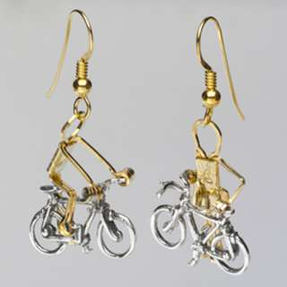 EARRINGS CYCLIST BICYCLE SPORTS Pierced Ears NEW GIFT
