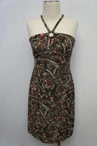 Ann Taylor Loft Brown/Pink/Beige Floral Dress 6P