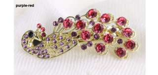 Elegant Lady Rhinestone Peacock Hair Barrette Clip 9102
