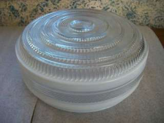 Vtg. Large Art Deco Clear Glass w/White Frost Schoolhouse Ceiling