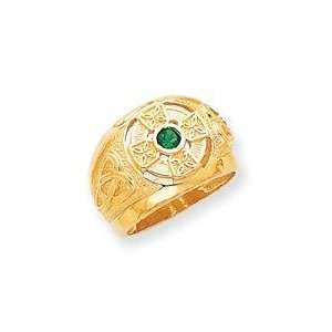 Celtic Cross Green Stone Ring in 14k Yellow Gold Jewelry