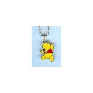 Winnie the Pooh Bear CZ Dog Tag Pendant Necklace