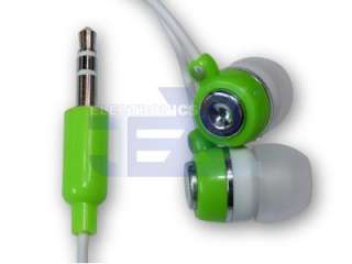High Quality Green & White Earbuds Earphones /MP4