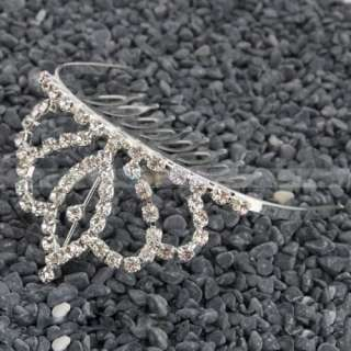 New Fashion Medium Leaves Rhinestone Crown Hair Clip