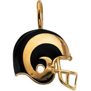 21.25 X 21.00 14K Yellow Gold St. Louis Rams Helmet Pendant W/Enamel