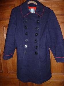 vtg DAVIS of Boston PEA coat NAUTICAL buttons navy M/L