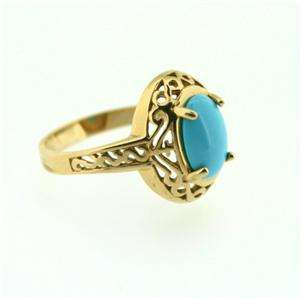 Vintage 14K Yellow Gold TURQUOISE Ring S8 5 grams