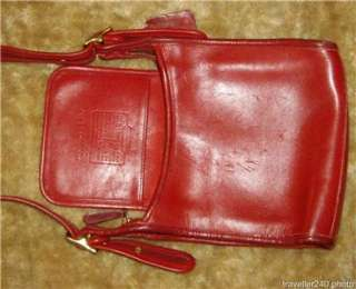 COACH Classic Small Legacy Zip Purse Red Leather Shoulder Bag Hobo