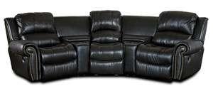 Black Leather 3 Seat Home Theatre Recliner Sofa