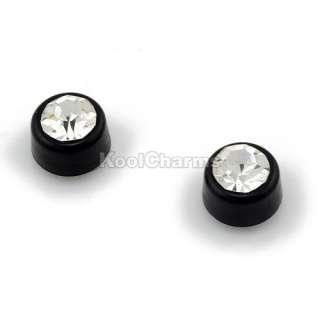 Wholesale 12 Pairs Black Magnetic Earrings Clear Rhinestone Crystal