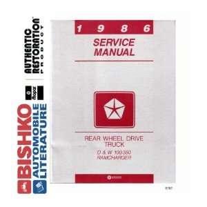 1986 DODGE PICKUP TRUCK & RAMCHARGER Service Manual CD Automotive