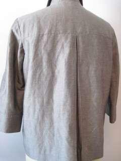 Ann Freedberg Gray Green Rayon & Linen Button Front Shirt Jacket   6