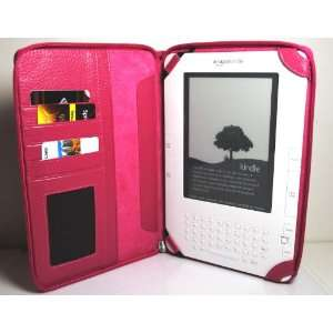 Hot Pink Zip Around Leather Folio Cover Case for