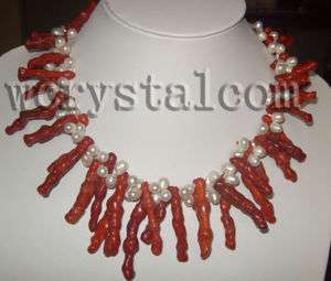 STR white freshwater pearl red coral necklace twisted