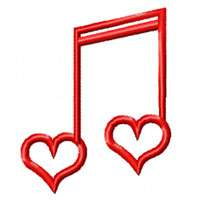 Musical Love   10 Valentines Embroidery Designs 4x4