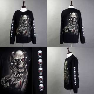 Rock Chang Long Sleeve T Shirt Heavy Metal Biker Skull 005   M, L, XL