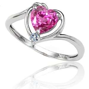 Gold Lab Created Heart Shape Pink Sapphire and Diamond Ring(Size7