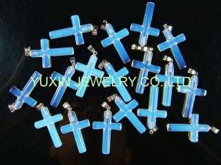 18KGP Man made opal cross shape pendant amulet YNA22
