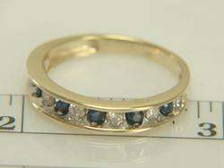 10K Yellow Gold Blue Sapphire & Diamond Band Ring