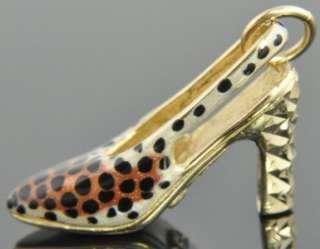 14K Yellow Gold Leopard Print Enamel Shoe Stiletto High Heel 3D Charm
