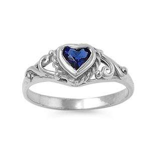 Sterling Silver 925 Baby ring size 4 Sapphire Blue CZ Heart Womens