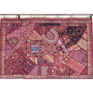 Maroon Wall Hanging Indian Ethnic Living Room Decor Tapestry Throw L