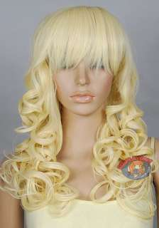 24 inch Hi_Temp Series Light Golden Blonde Curly Long Cosplay DNA Wigs