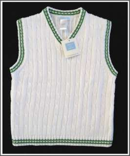 JANIE AND JACK Boys Cable Knit White Sweater Vest Size 6 NEW Easter