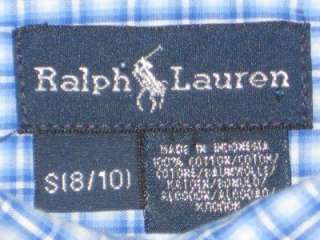 RALPH LAUREN POLO Boys Blue Plaid Spring/Easter Shirt 8 10 EUC
