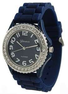 Mens Womens Dark Blue Large Silicone Jelly Geneva Watch