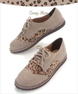 BN Lace Up Leopard Print Oxford Flat Women Shoes in Brown, Black