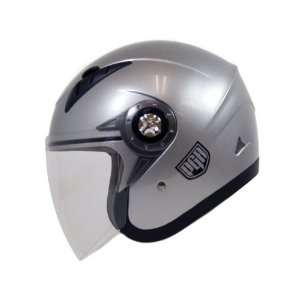 PGR Jet Pilot Open Face Motorcycle DOT APPROVED Helmet JE02 (S, Silver